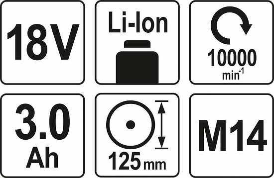 18 V Profi Akku Winkelschleifer 125 mm inkl. 2 x 3,0 Ah Akku und Schnellladegerät