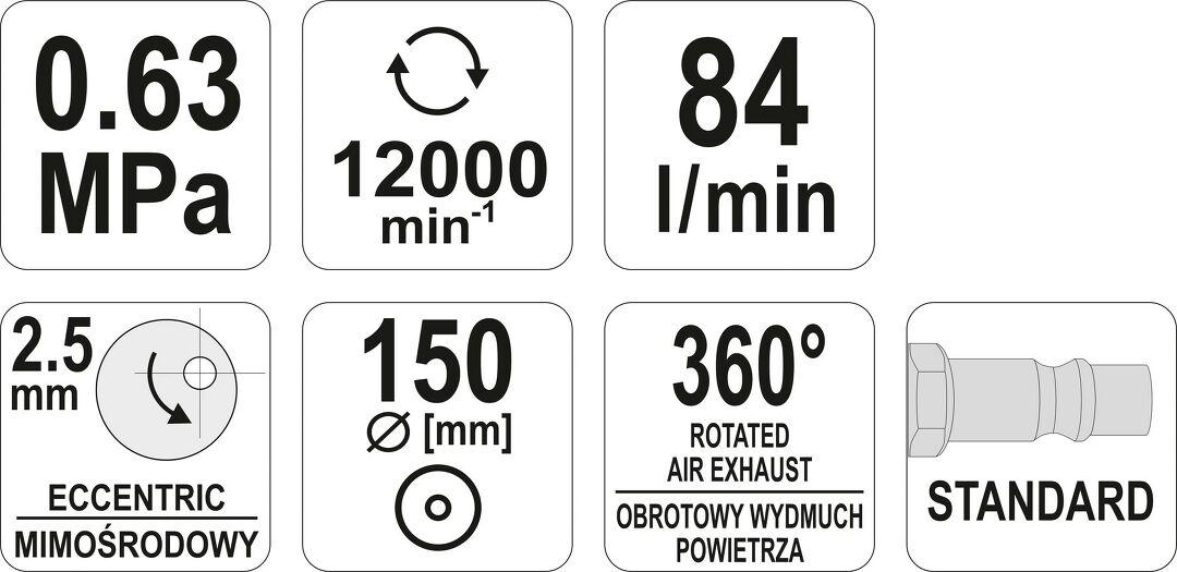 Druckluft Exzenterschleifer 150 mm mit 6 Loch Absaugung YT-09739 Yato